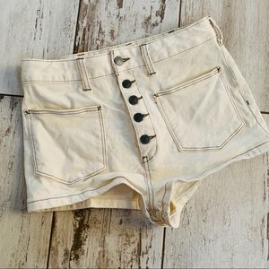 Free people high waisted retro white button shorts